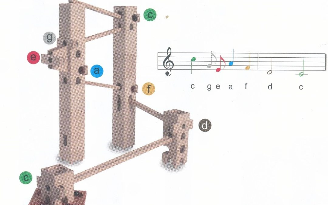 Construct a marble track and program a melody with Xyloba